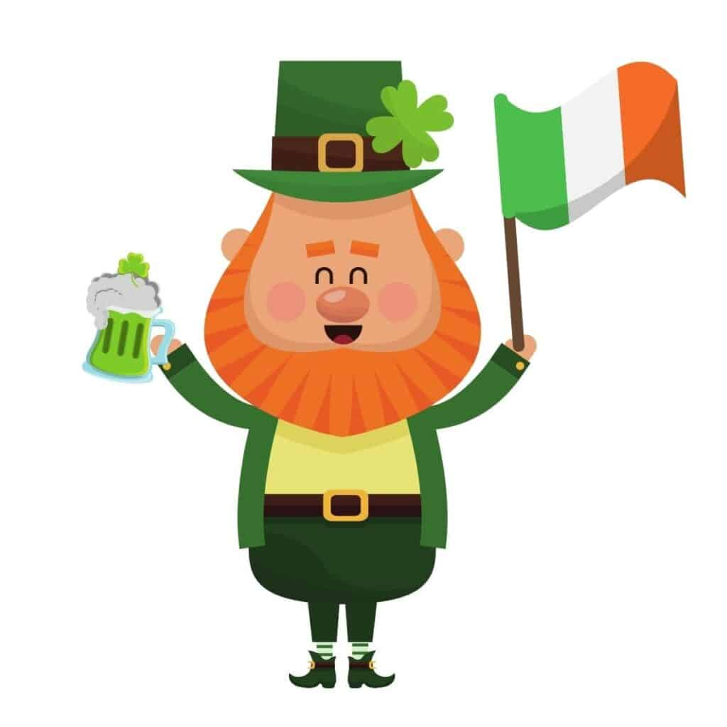 Leprechaun holding the Irish flag and a beer.