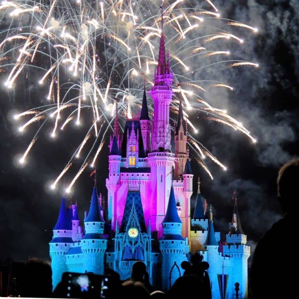 Magic Kingdom at Disneyland with fireworks.